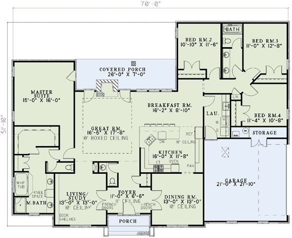 Plan 59068nd Neo Traditional 4 Bedroom House