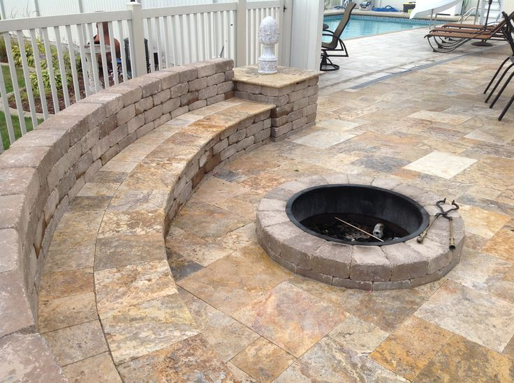 Gorgeous Travertine Seat Wall With Fire Pit Fit For A