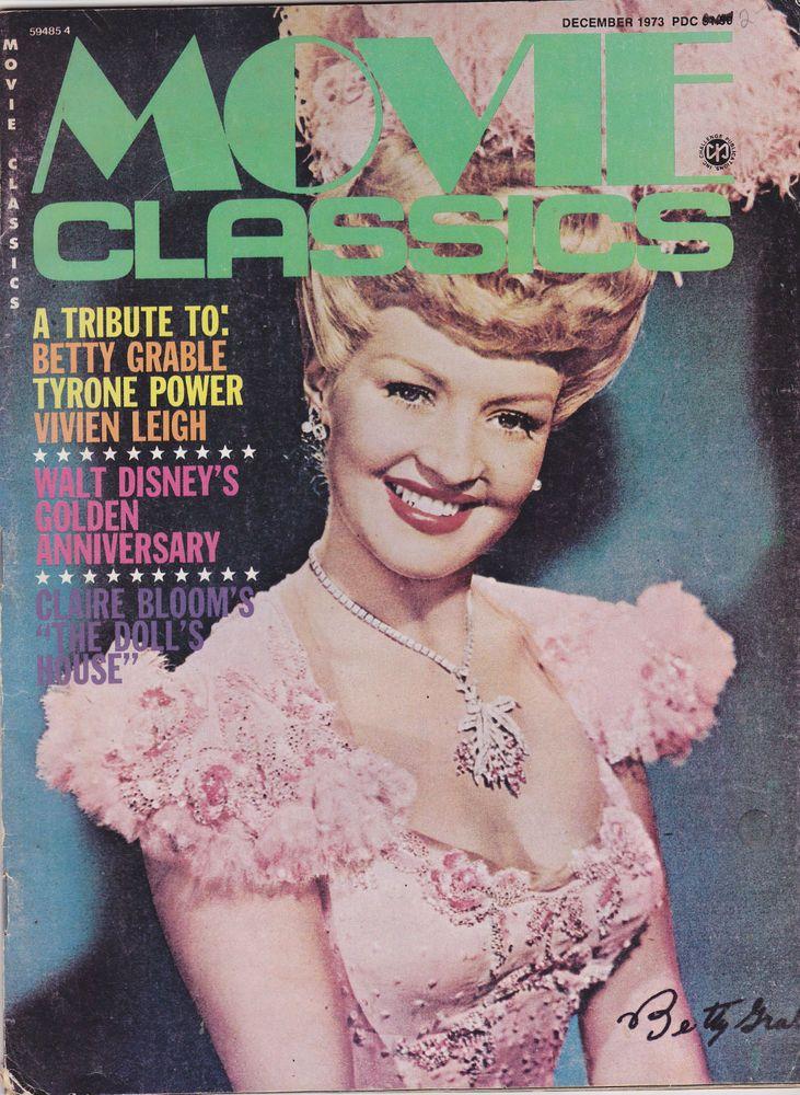 Vtg Movie Classics Magazine December 1973 Betty Grable