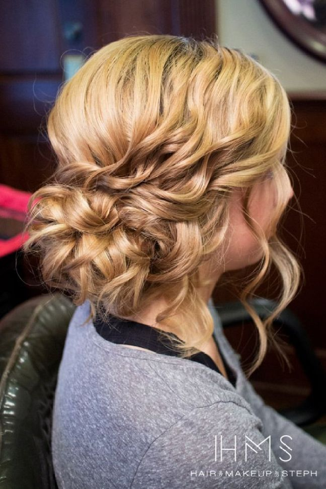 Curly side updo: