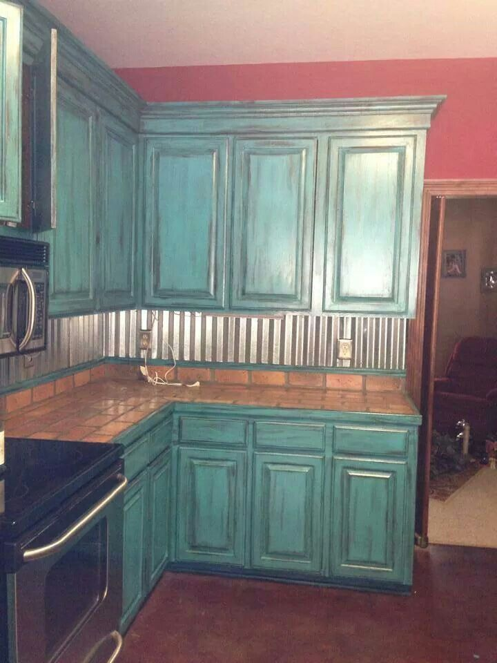 Teal Kitchen Cabinets Home Corrugated