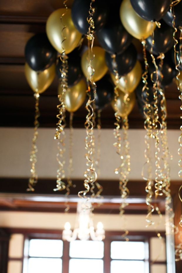 I LOVE the idea of letting balloons just float up to the ceiling - small rooms only: