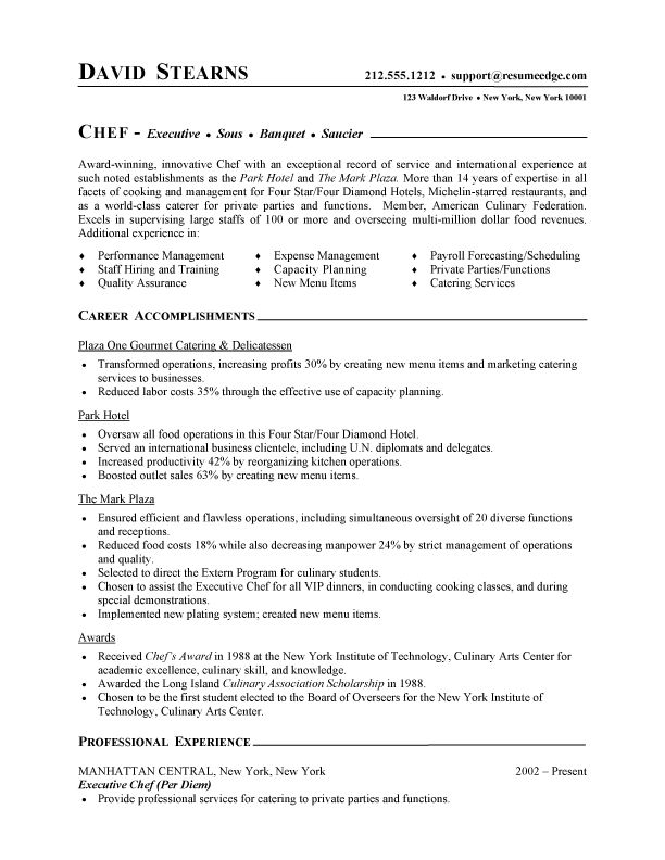 Chef S Resume Objective. Hospitality Resume Example Service