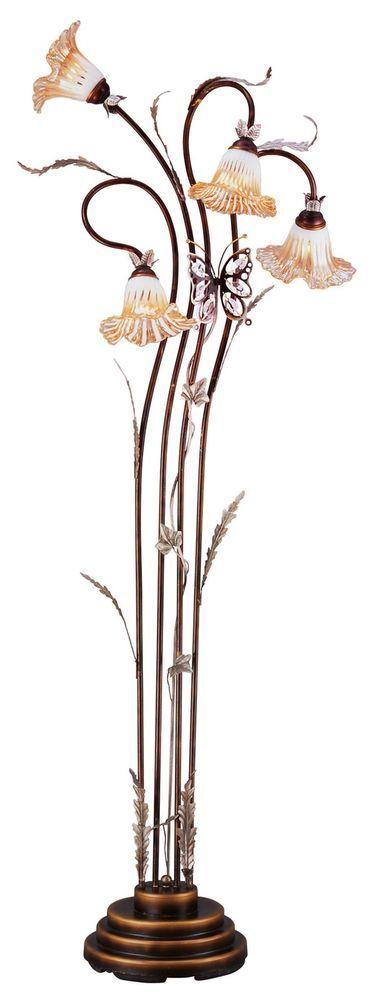 LOKG71h Exquisite Look Metal Base Floral Floor Lamp W