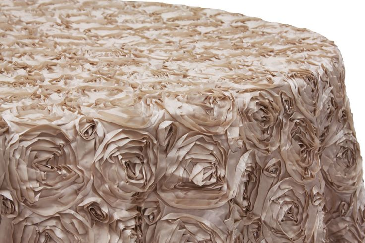 Wedding Rosette SATIN 120 Round Tablecloth Champagne