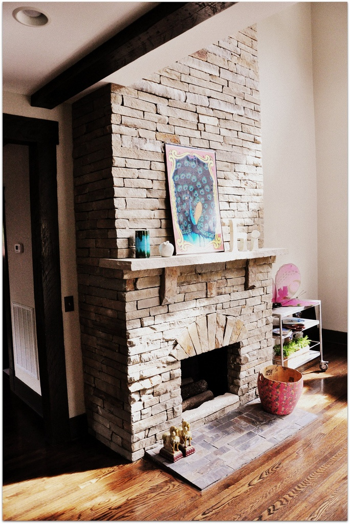 Stone Fireplace And Vaulted Ceilings M A I S O N