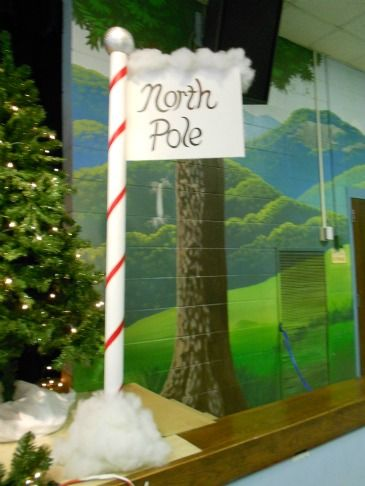 Homemade North Pole Sign For My Music Program Pole Is The