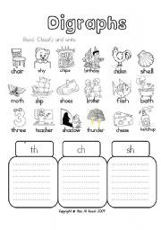 English Worksheet Digraphs