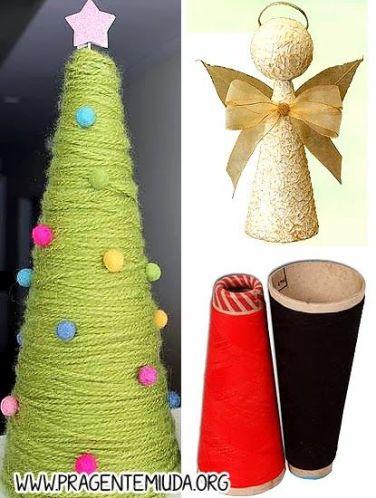 Enfeites de natal com reciclagem de cones de linha: