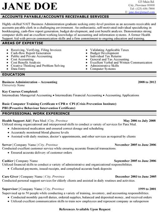 Sample Cpa Resume Entry Level. Resume Template Entry Level