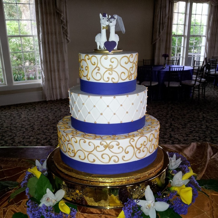 My Purple And Gold LSU Wedding Cake With A Bride And Groom