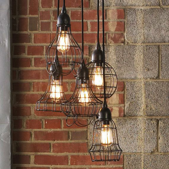 Loft style rustic wire cage industrial pendant light