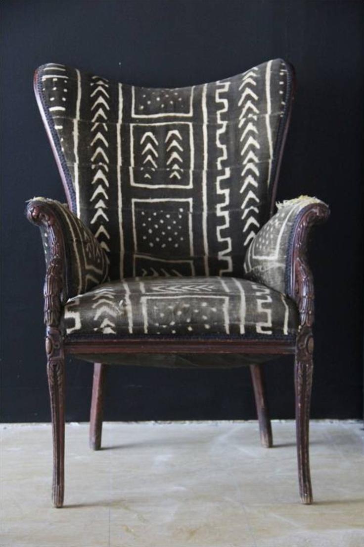mud cloth upholstered chair via aroundthewaycurls.tumblr