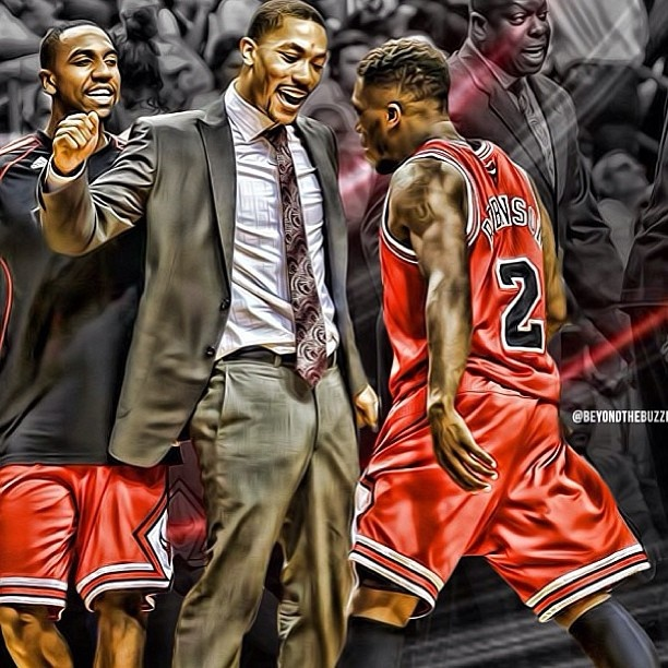 derrick rose all excited about nate robinson Nate