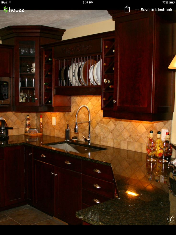 I M Really Liking This Look Dark Cherry Cabinets Uba