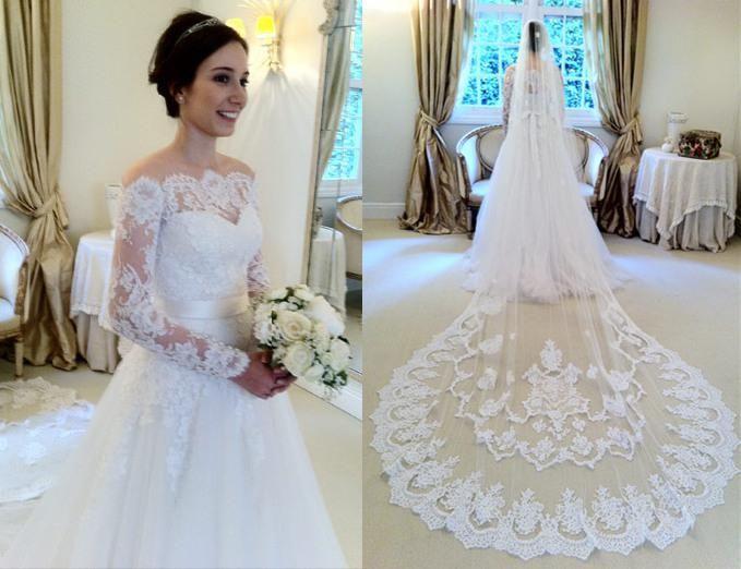 Glamorous 2015 Lace Applique A-Line Tulle Wedding Dresses