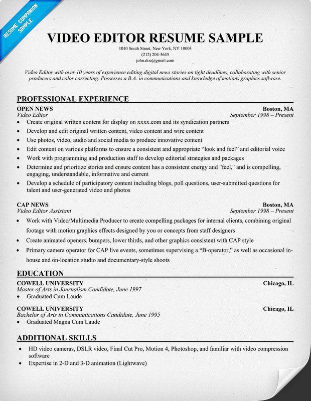 resume sample video resume filmmaker resume free video editor resume