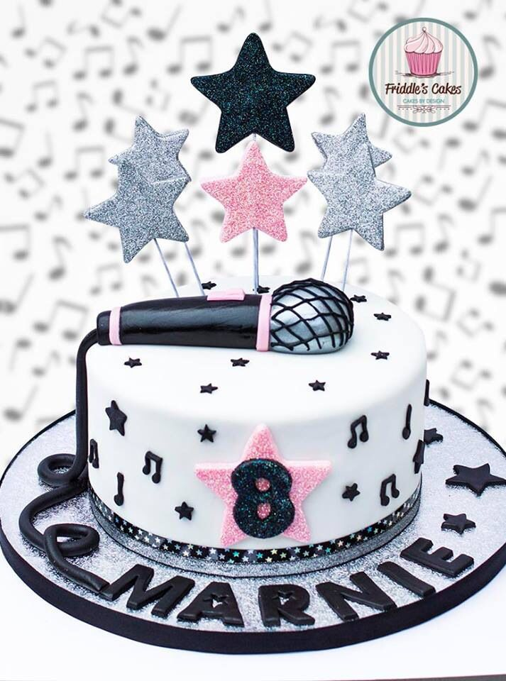 Friddle's cakes music microphone birthday cake Mom's
