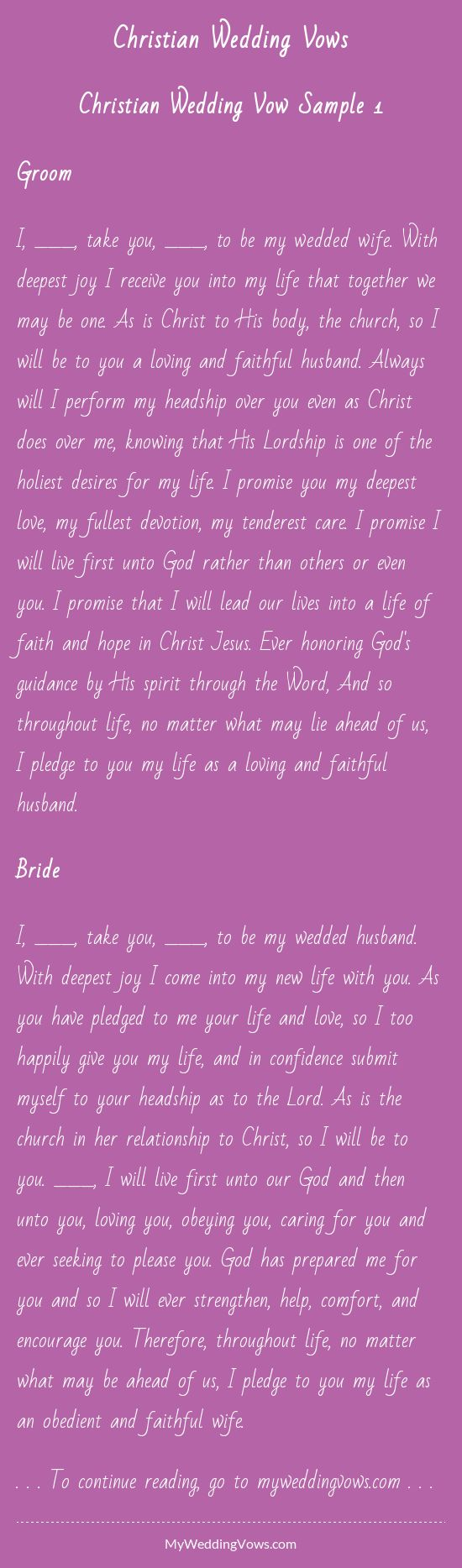 Traditional Christian Marriage Vows