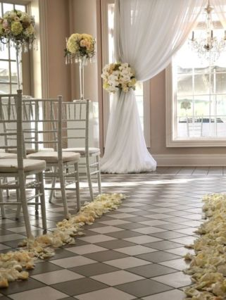 indoor wedding ceremonies | Indoor Wedding ceremony aisle decorations