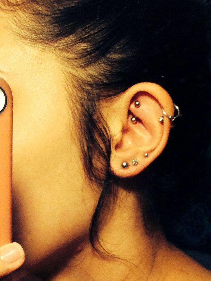 Rook Double Helix And Triple Lobe Piercings Ear