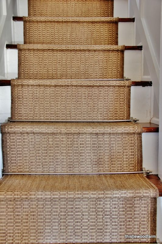 DIY:: Easy Inexpensive Option for a Rustic Stair Runner ! Looks Custom & High End! Yet She made it so cheap in SUCH a clever way!