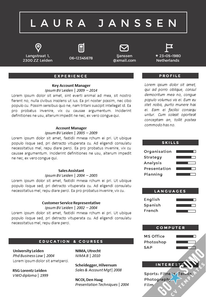 Resume template in Word and PowerPoint, matching cover