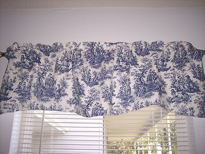 Details About NAVY DELFT BLUEWHITEWAVERLY Rustic Toile Scalloped Lined Valance CURTAINS