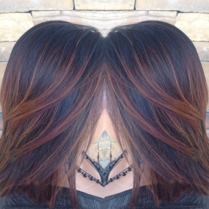 Ambercopperredauburn Ombr Weave With Balayage On Black