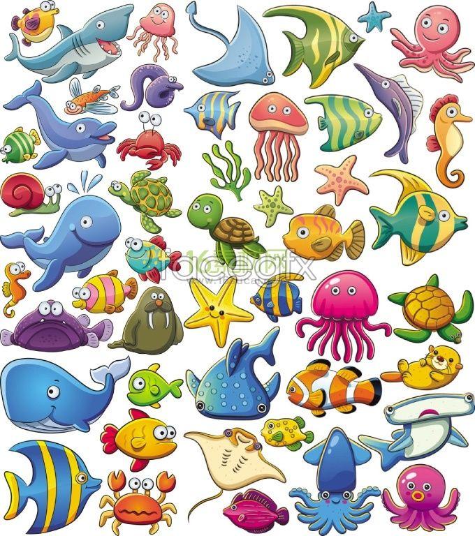 Cute sea animal cartoon vector College Pinterest