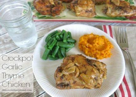 Slow Cooker Garlic Thyme Chicken:
