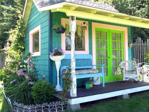 I love cute gardening sheds! I especially love the fun colors on this one and th