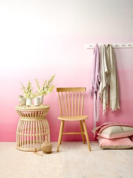 Pink Ombre wall using Resene paints, featured in the August issue of Your Home and Garden magazine. Photography by Melanie