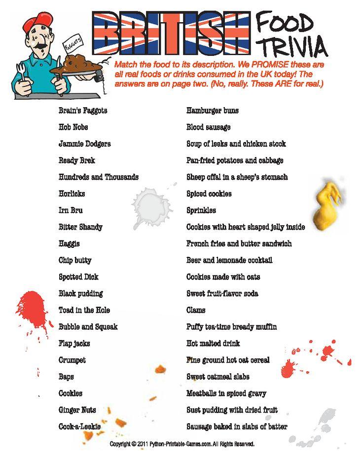 Nasty British Food Trivia Game! Activities riddles