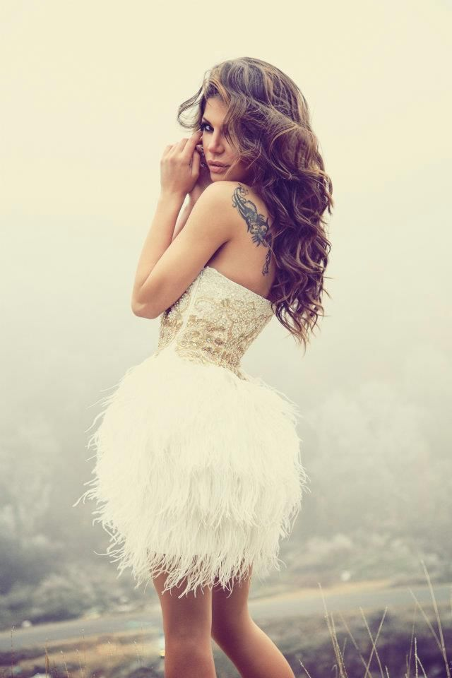 Ivory Gold Ostrich Feather Dress Haute On High