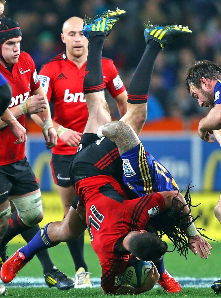 Ma'a Nonu tackles the Crusaders' Tom Marshall Rugby