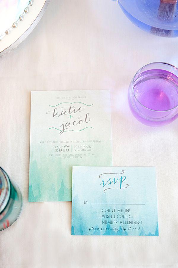 Image result for watercolor wash + DIY wedding invitation