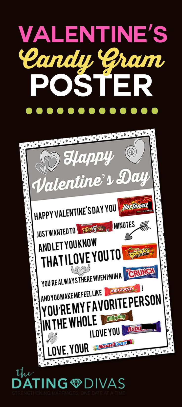 Printable Candy Gram Posters Romantic Anniversaries And