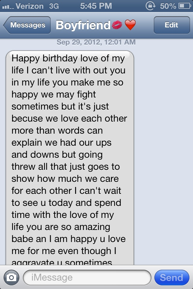 Birthday text part 1 Young & In Love Pinterest Texts