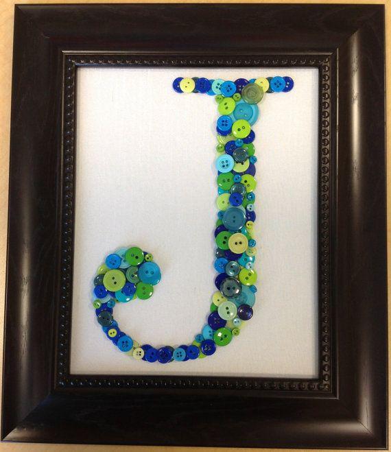 Framed Button Letter J