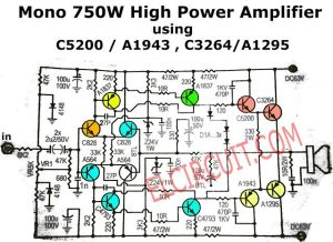 750W Mono Power Amplifier Schematic diagram | Audio