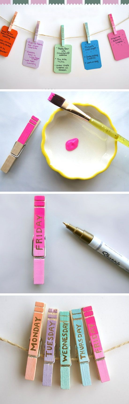 Clothespin Daily Organizers   23 Life Hacks Every Girl Should Know   Easy Organization Ideas for Bedrooms