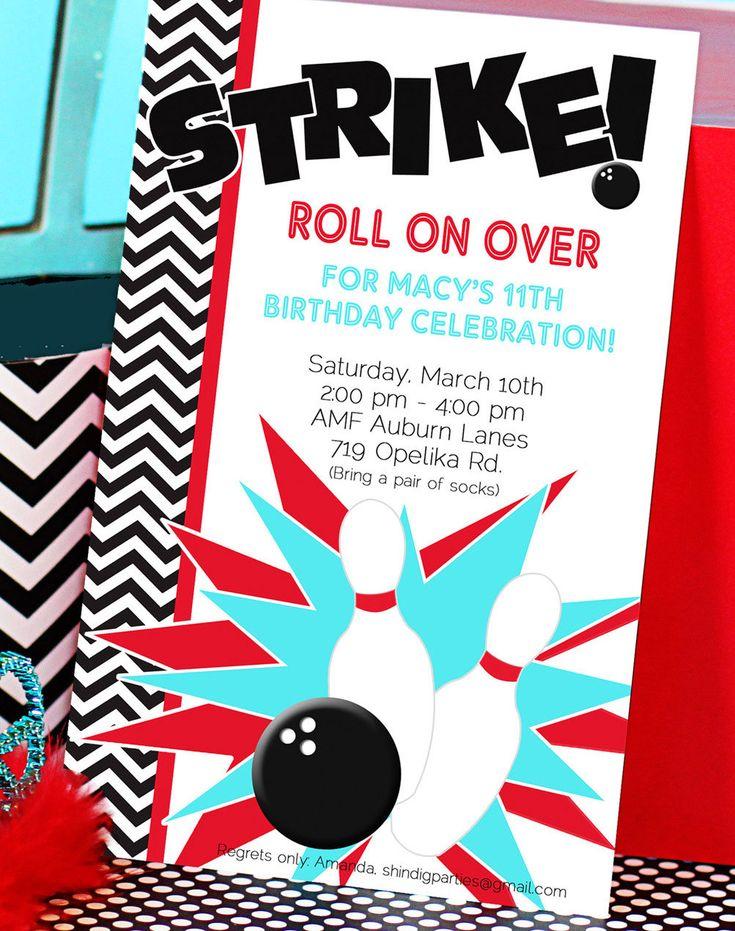 Bowling Party Invitation Bowling Birthday Invitation