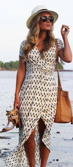 """White Geometric Print Wrap Dress Paired With Jewelry """"Minis"""""""