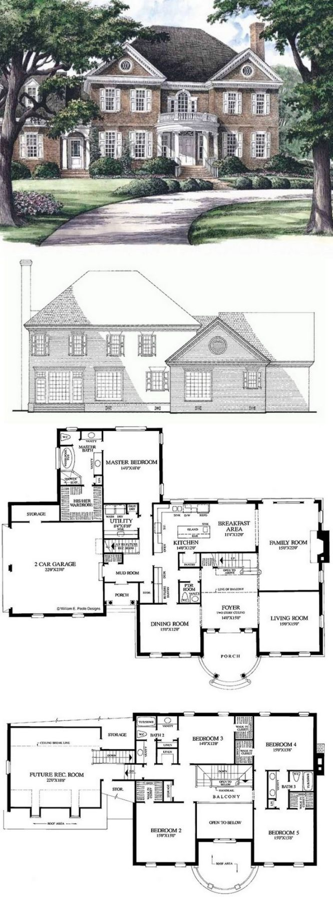 Georgian House Plan With 3951 Square Feet And 5 Bedrooms From Dream Home Source