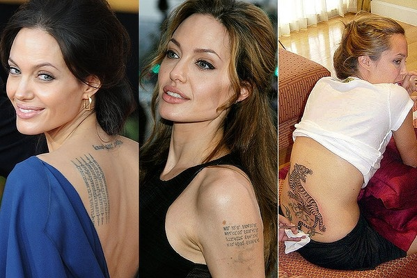 Angelina Jolie Perhaps the most famous tattooed woman in
