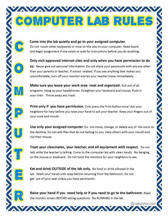 Computer Lab Rules Blue Computer Lab Pinterest