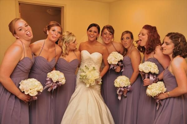 Bouquet Examples With Victorian Lilac Bridesmaid Dresses