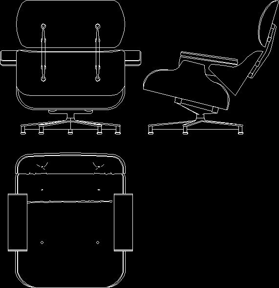 Charles Eames Lounge Chair 1956 DwgAutocad Drawing