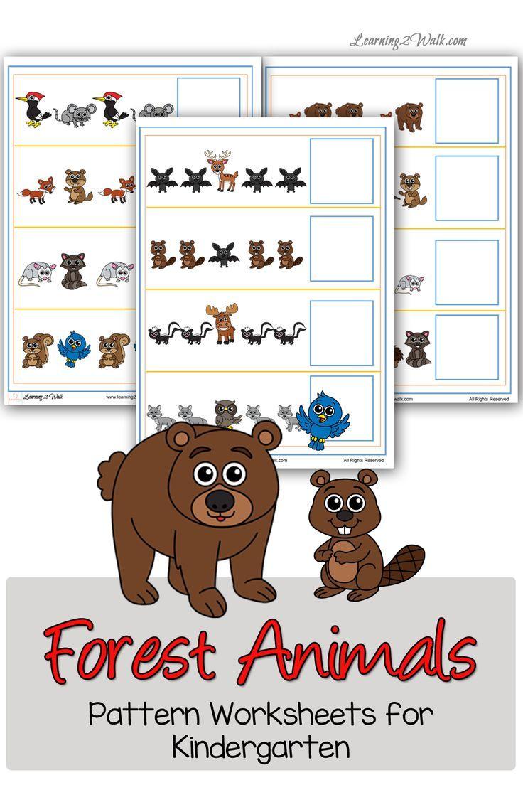 Forest Animals Pattern Worksheets for Kindergarten